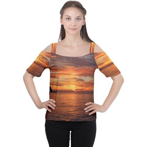 Sunset Sea Afterglow Boot Women s Cutout Shoulder Tee