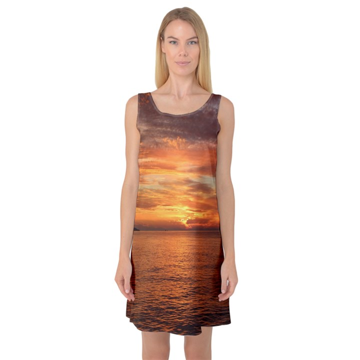 Sunset Sea Afterglow Boot Sleeveless Satin Nightdress