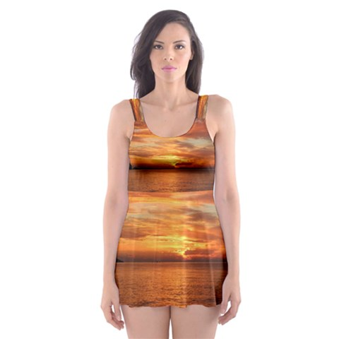 Sunset Sea Afterglow Boot Skater Dress Swimsuit