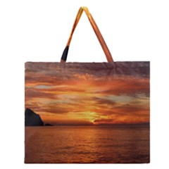 Sunset Sea Afterglow Boot Zipper Large Tote Bag