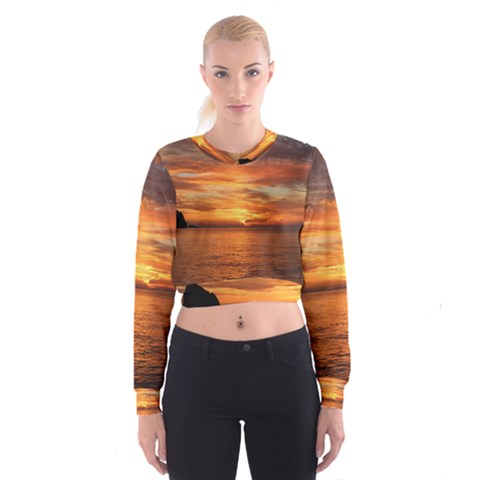 Sunset Sea Afterglow Boot Women s Cropped Sweatshirt