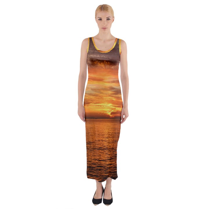 Sunset Sea Afterglow Boot Fitted Maxi Dress