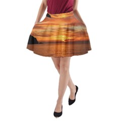 Sunset Sea Afterglow Boot A-Line Pocket Skirt