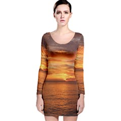 Sunset Sea Afterglow Boot Long Sleeve Velvet Bodycon Dress