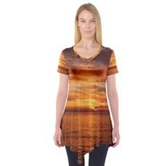 Sunset Sea Afterglow Boot Short Sleeve Tunic