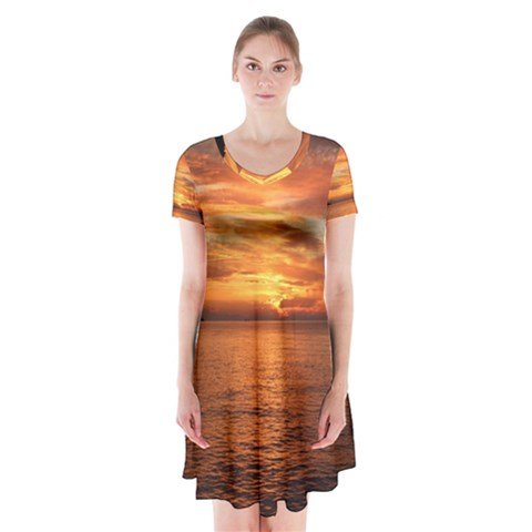 Sunset Sea Afterglow Boot Short Sleeve V-neck Flare Dress