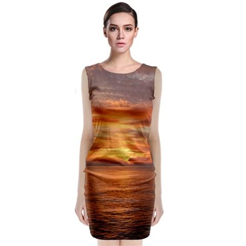 Sunset Sea Afterglow Boot Classic Sleeveless Midi Dress