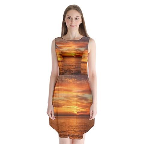 Sunset Sea Afterglow Boot Sleeveless Chiffon Dress