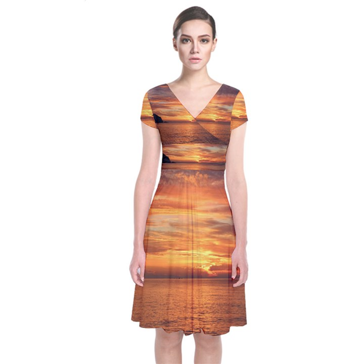 Sunset Sea Afterglow Boot Short Sleeve Front Wrap Dress