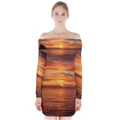 Sunset Sea Afterglow Boot Long Sleeve Off Shoulder Dress