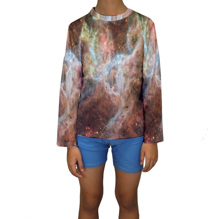 Tarantula Nebula Central Portion Kids  Long Sleeve Swimwear