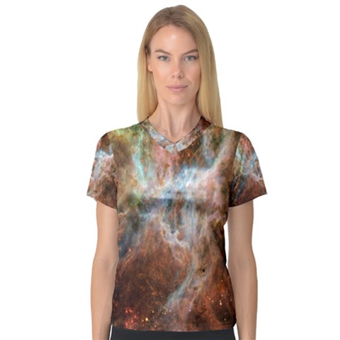Tarantula Nebula Central Portion Women s V-Neck Sport Mesh Tee