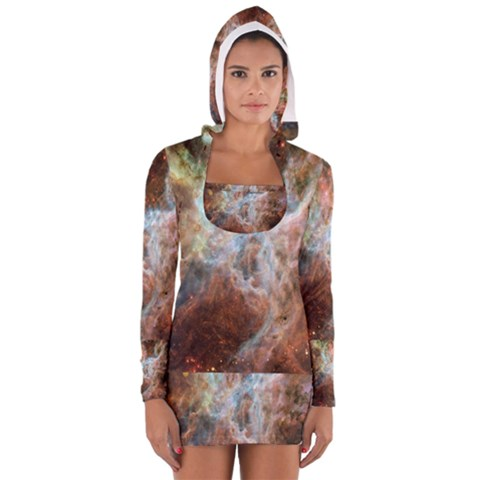 Tarantula Nebula Central Portion Women s Long Sleeve Hooded T-shirt