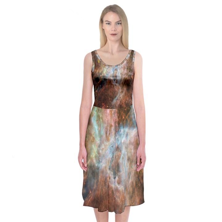 Tarantula Nebula Central Portion Midi Sleeveless Dress
