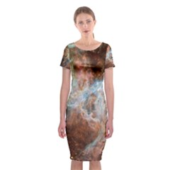 Tarantula Nebula Central Portion Classic Short Sleeve Midi Dress