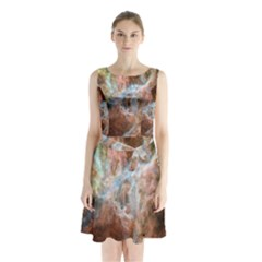 Tarantula Nebula Central Portion Sleeveless Chiffon Waist Tie Dress