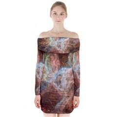 Tarantula Nebula Central Portion Long Sleeve Off Shoulder Dress