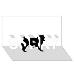 Akita Silo2 SORRY 3D Greeting Card (8x4)