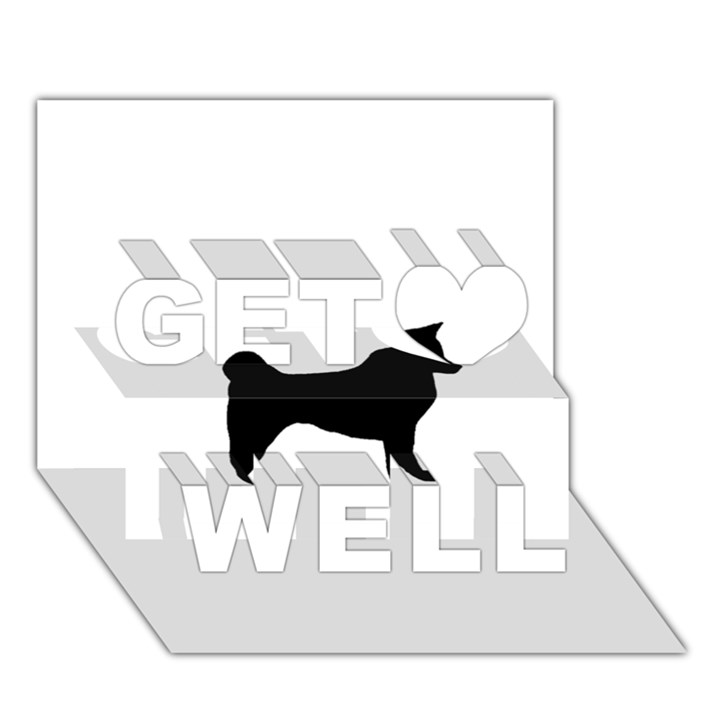 Akita Silo2 Get Well 3D Greeting Card (7x5)
