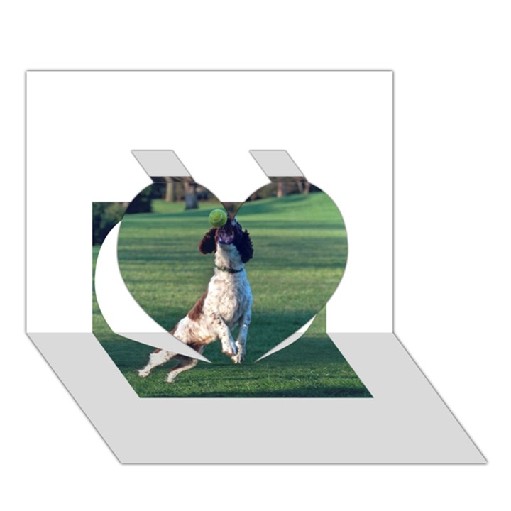 English Springer Catching Ball Heart 3D Greeting Card (7x5)