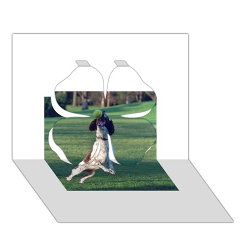 English Springer Catching Ball Clover 3D Greeting Card (7x5)