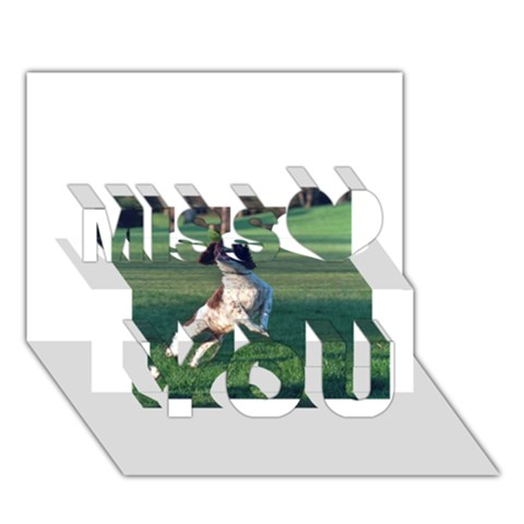 English Springer Catching Ball Miss You 3D Greeting Card (7x5)