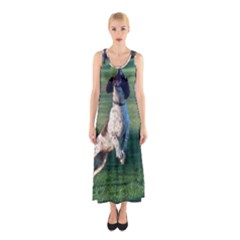 English Springer Catching Ball Sleeveless Maxi Dress