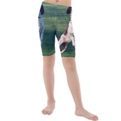 English Springer Catching Ball Kids  Mid Length Swim Shorts