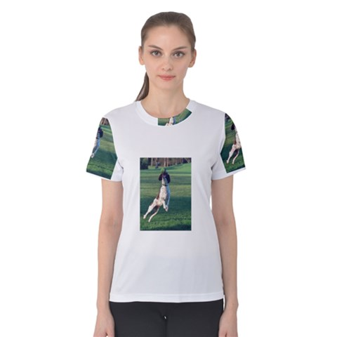 English Springer Catching Ball Women s Cotton Tee