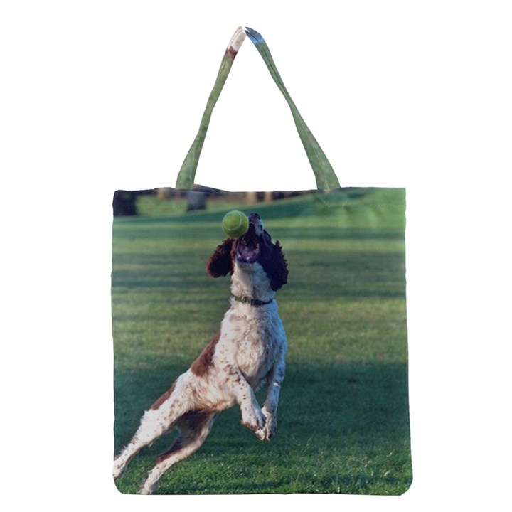 English Springer Catching Ball Grocery Tote Bag
