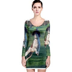 English Springer Catching Ball Long Sleeve Bodycon Dress