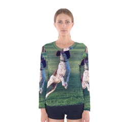 English Springer Catching Ball Women s Long Sleeve Tee