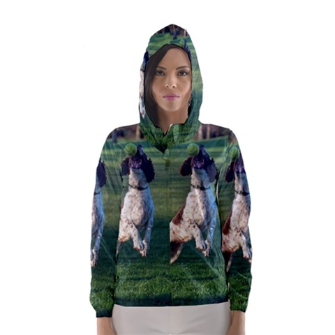 English Springer Catching Ball Hooded Wind Breaker (Women)