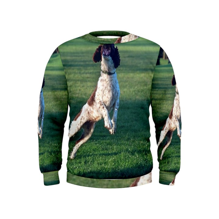 English Springer Catching Ball Kids  Sweatshirt