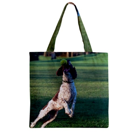 English Springer Catching Ball Zipper Grocery Tote Bag
