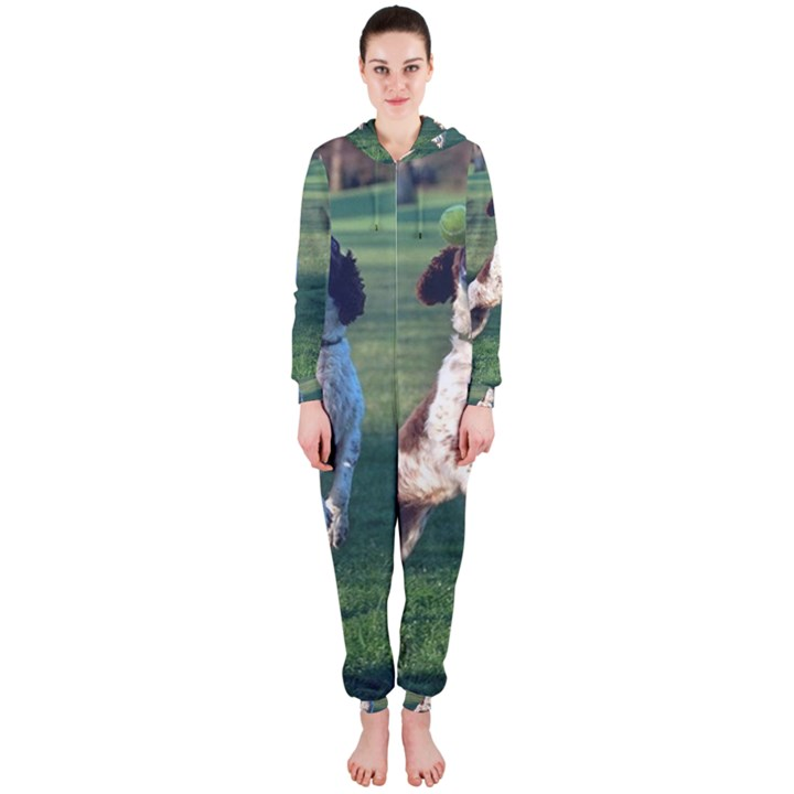 English Springer Catching Ball Hooded Jumpsuit (Ladies)
