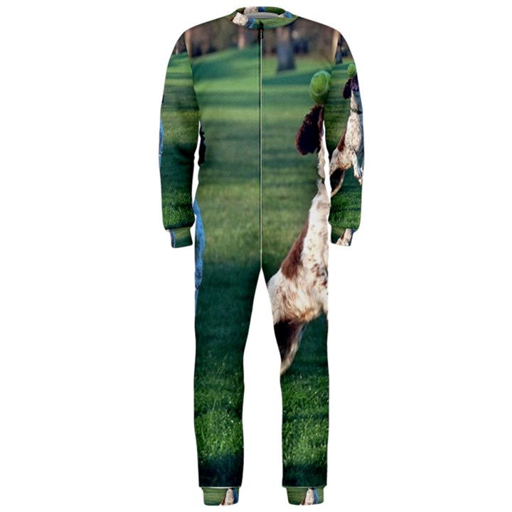 English Springer Catching Ball OnePiece Jumpsuit (Men)