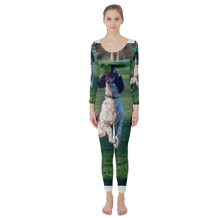 English Springer Catching Ball Long Sleeve Catsuit