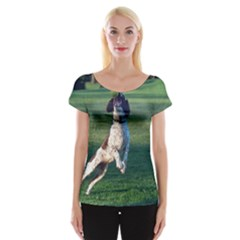 English Springer Catching Ball Women s Cap Sleeve Top