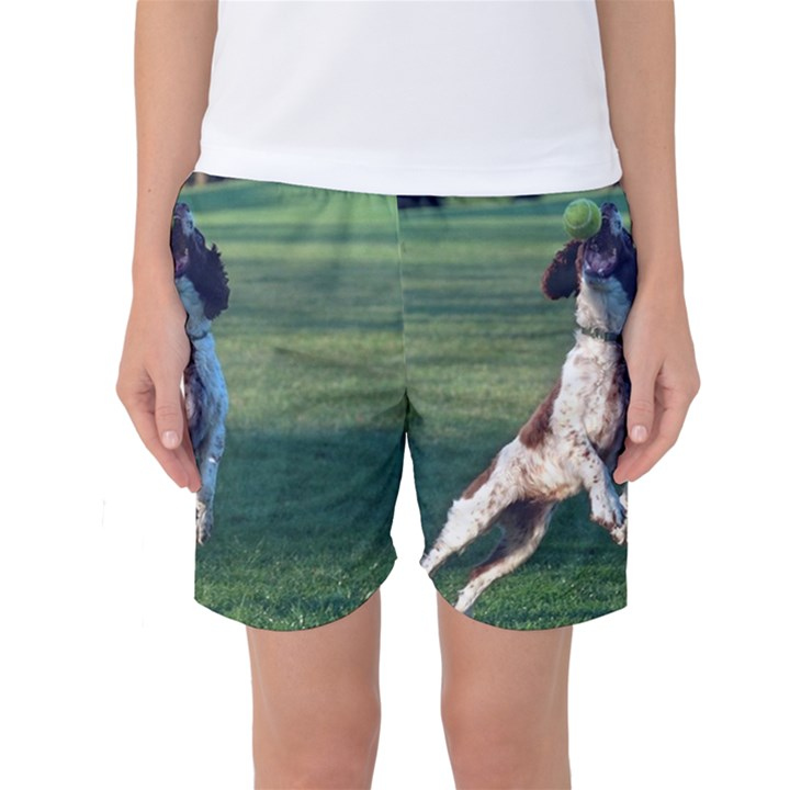 English Springer Catching Ball Women s Basketball Shorts