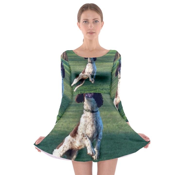 English Springer Catching Ball Long Sleeve Skater Dress