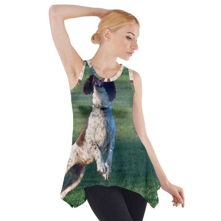 English Springer Catching Ball Side Drop Tank Tunic