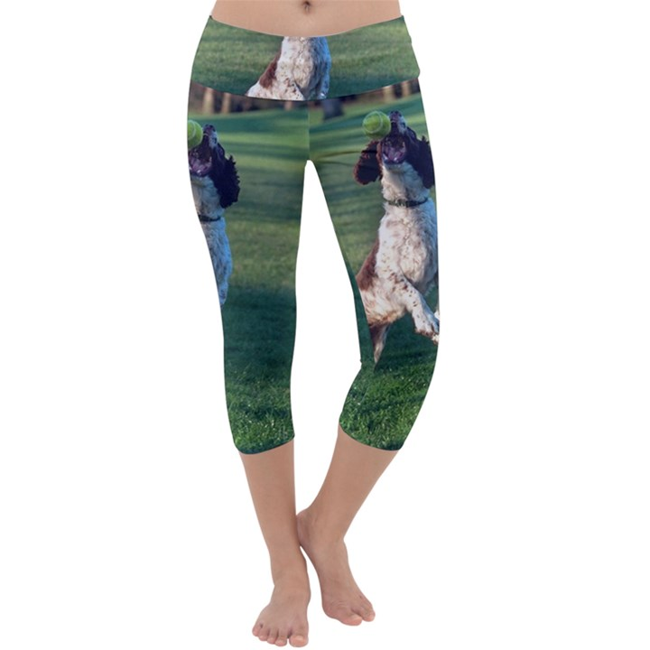 English Springer Catching Ball Capri Yoga Leggings