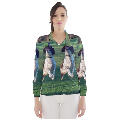 English Springer Catching Ball Wind Breaker (Women)