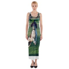 English Springer Catching Ball Fitted Maxi Dress