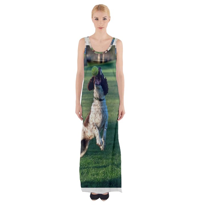 English Springer Catching Ball Maxi Thigh Split Dress