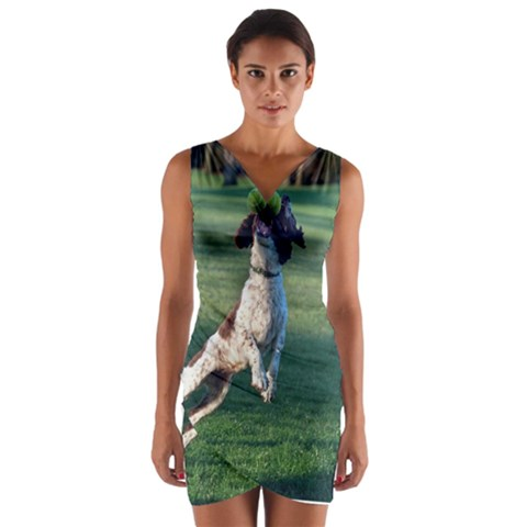 English Springer Catching Ball Wrap Front Bodycon Dress