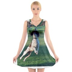 English Springer Catching Ball V-Neck Sleeveless Skater Dress