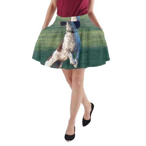 English Springer Catching Ball A-Line Pocket Skirt