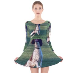 English Springer Catching Ball Long Sleeve Velvet Skater Dress